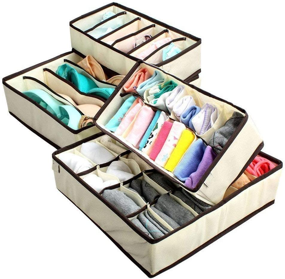 Fliyeong Underwear Drawer Organisers Collapsible Closet Dividers and Foldable Storage Box for Clothes//Underwear//Neck//Ties//Socks//Bras Set of 4 Beige Durable and Useful