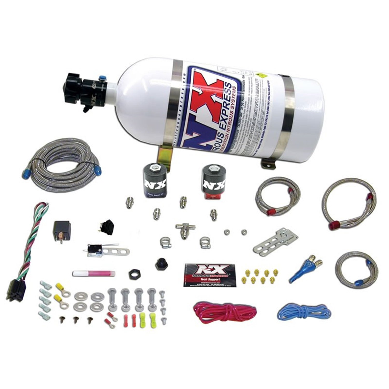 Nitrous Express 20915-10 35-150 HP Universal Single Nozzle System for EFI with 10 lbs. Bottle