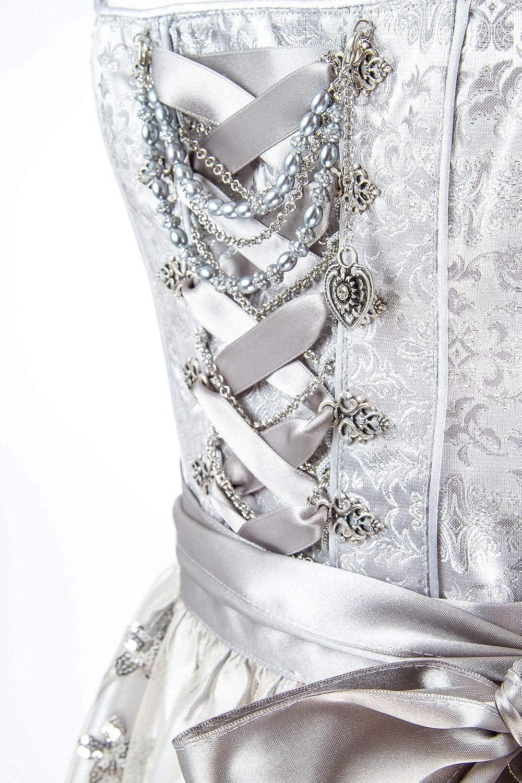 d1619536cc3cc7 Tramontana Festliches Designer Dirndl Lesandra (Silber) Hochzeitsdirndl  midi: Amazon.de: Bekleidung