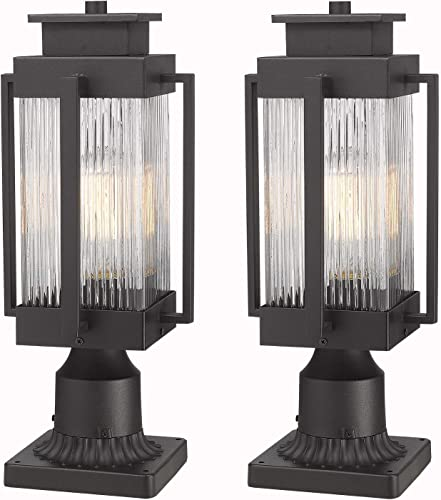Osimir Outdoor Post Lantern, 2 Pack Modern Exterior Post Lamp with Pier Mount Base,Post Light in Black Finish with Clear Ribbed Glass, 7 W x 18 H, 2377 1GL-2PK