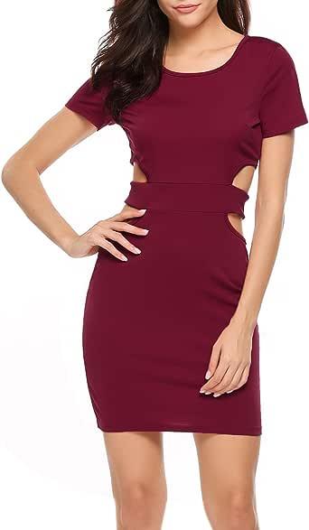 ACEVOG Women's Short Sleeve High Waist Pencil Dresses