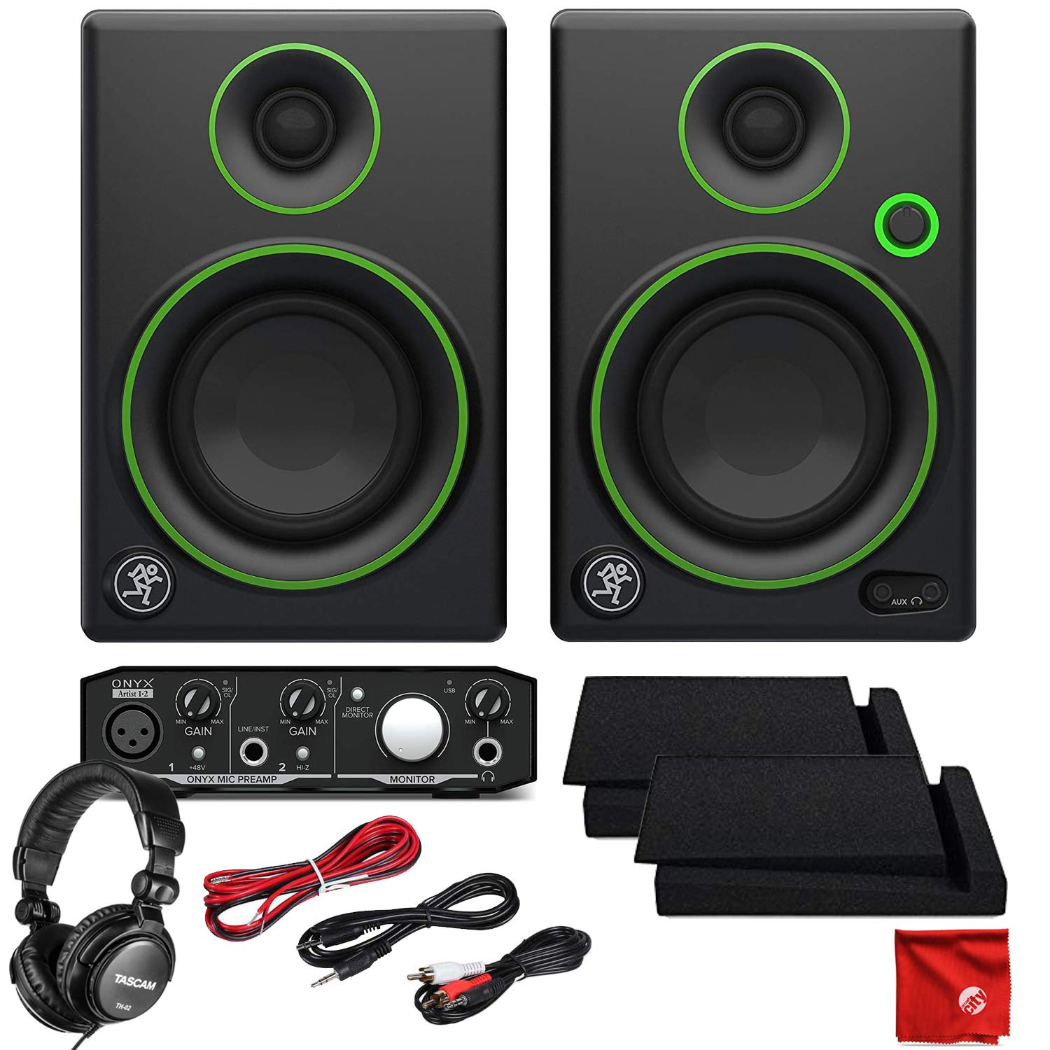 Mackie CR3 3'' Creative Reference Multimedia Monitors Bundle with Mackie Onyx Artist 1-2 USB Audio Interface and Tascam TH-02 Closed Back Studio Headphones
