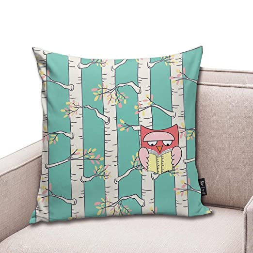 TopYYing Throw Pillow Cover Square Reading Owl Pillow Cover ...