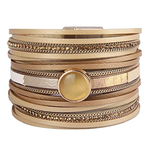 e3210a0255d JAOYU Womens Wrap Bracelets Leather Cuff Bracelet for Girls Handmade Bangle  Bohemian Jewelry for Women,