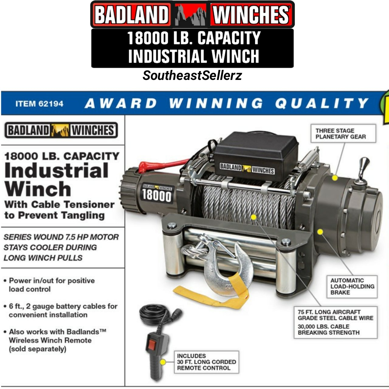 Amazon.com: 18000 lb Industrial / Tow Truck Electric Winch ... on