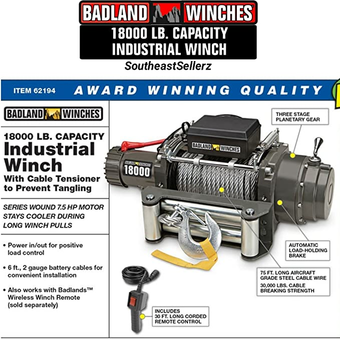 Amazon com: 18000 lb Industrial / Tow Truck Electric Winch
