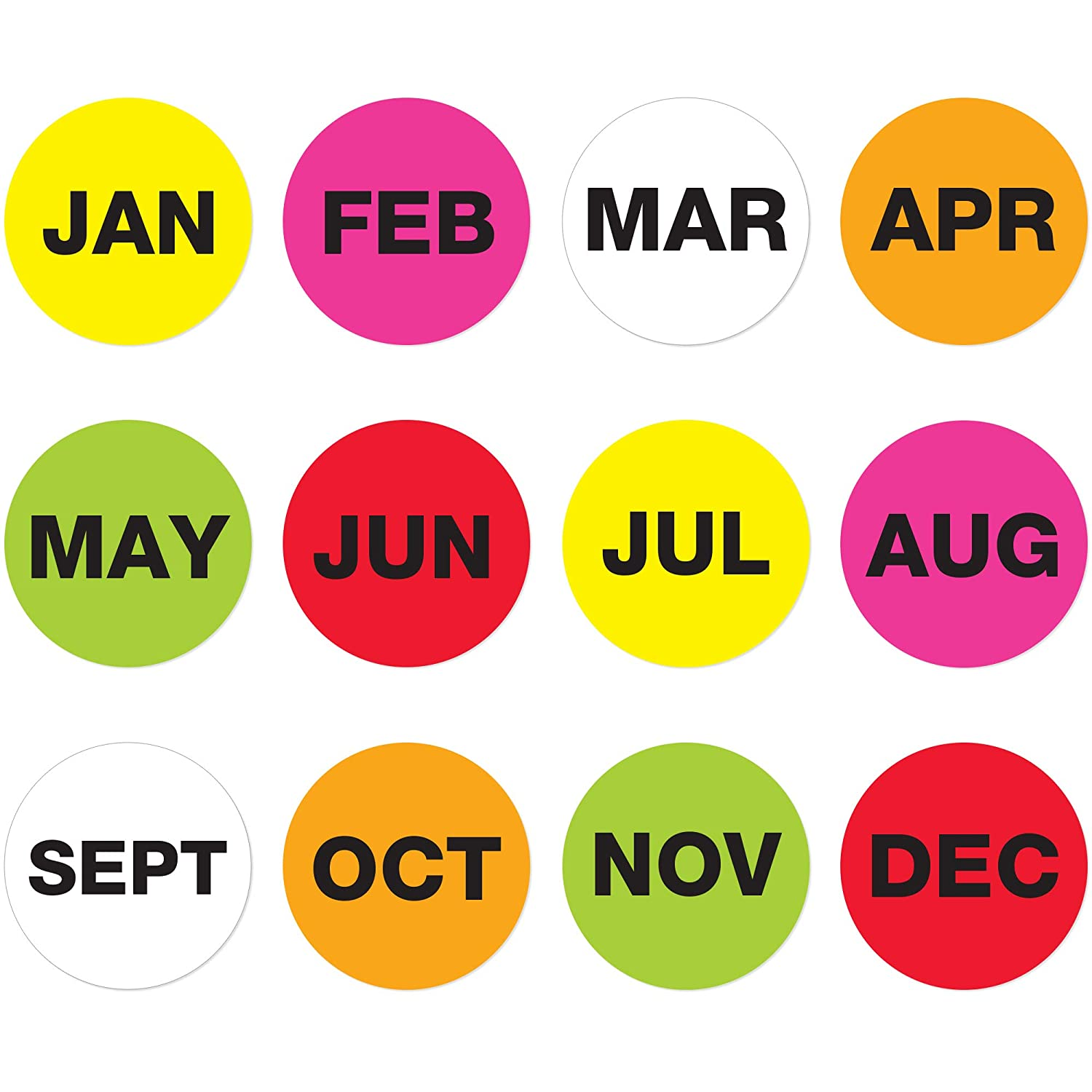 1 Circle 500//Roll Tape Logic Months of The Year Labels,APR Fluorescent Orange