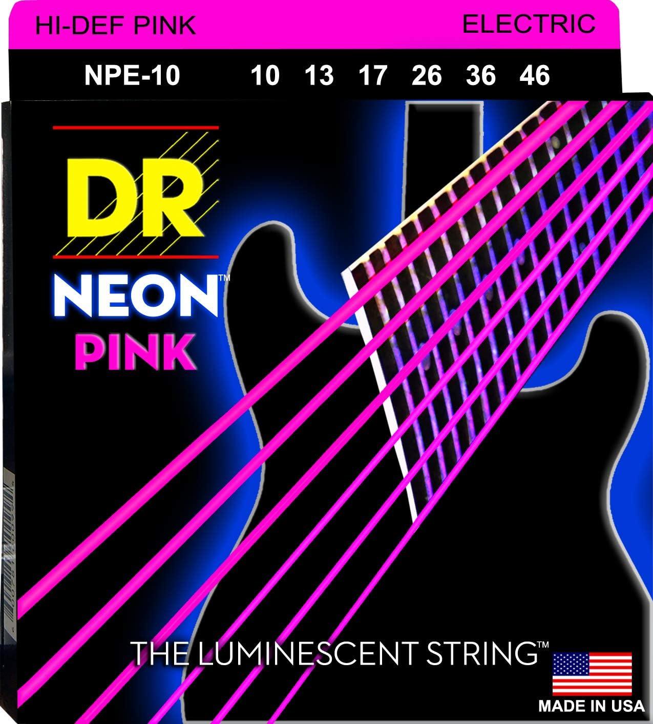 DR String NPE-10 Neon Pink Juego Cuerdas Eléctrica