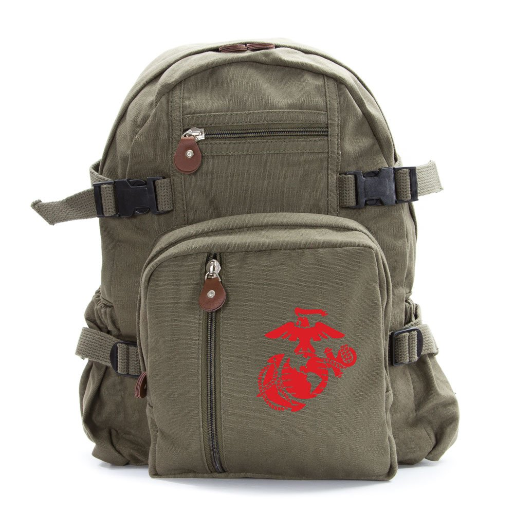 U.S. Marine Corps Semper Fidelis Army Sport Heavyweight Canvas Backpack Bag in Olive & Red, Small