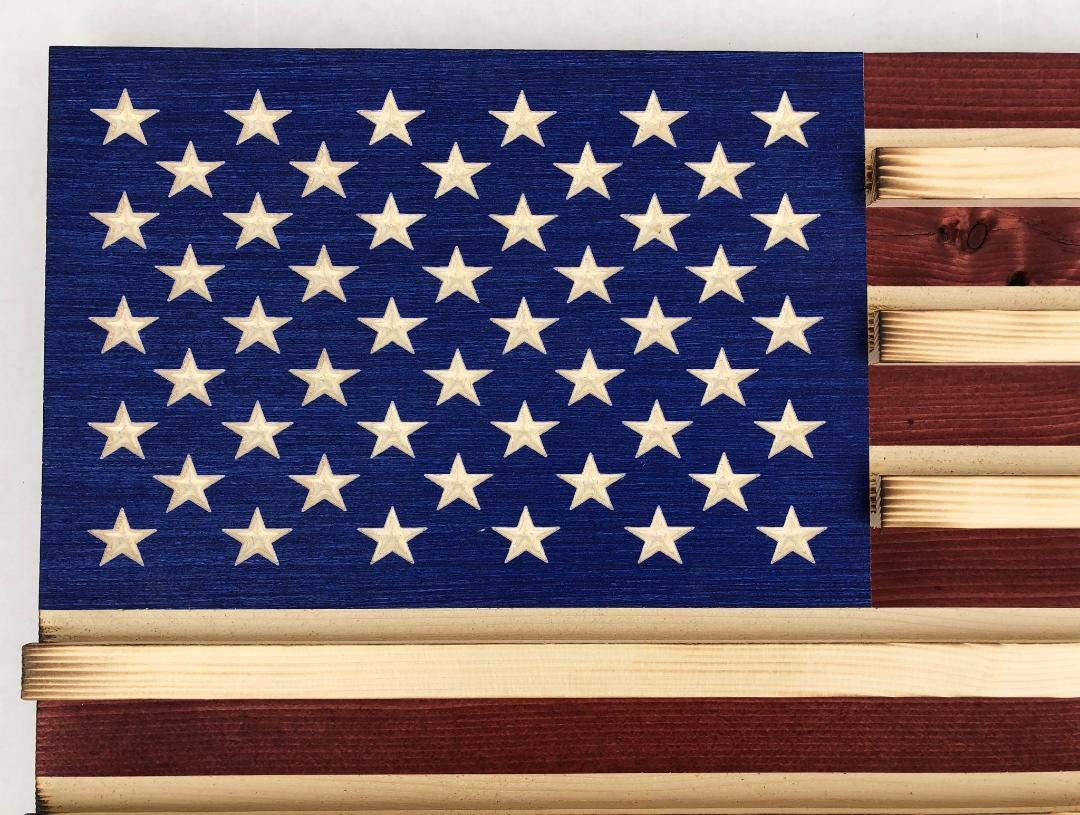 Medium Rustic American Flag Challenge Coin Display