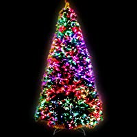 6FT Christmas Tree 1.8M Pre-lit Optic Fibre Xmas Faux Tree Multi-Colour Lighting Effect Jingle Jollys Holiday Decoration…