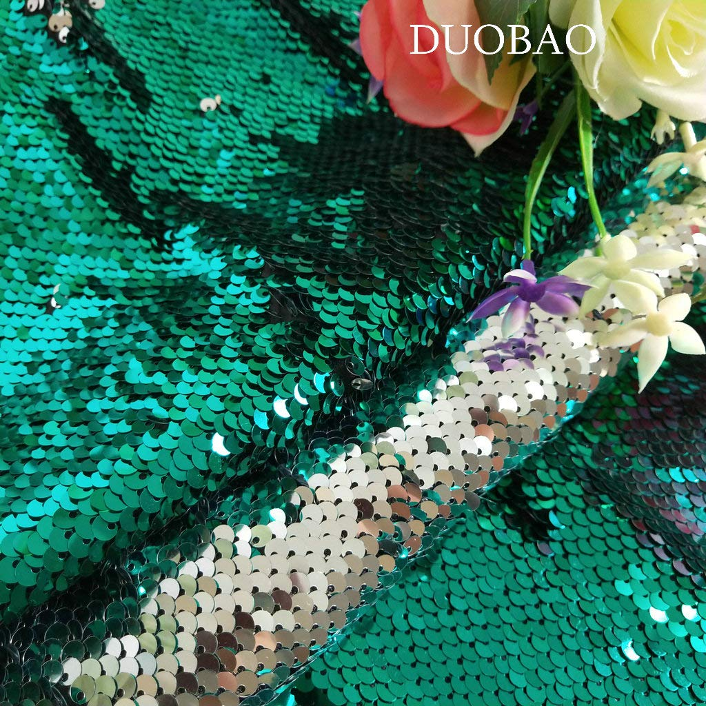 Sequin Fabric by The Yard Green to Silver 10 Yards Reversible Sequin Fabric Double Sided Sequin Fabric Unique Quality Fabrics Mesh Sequins