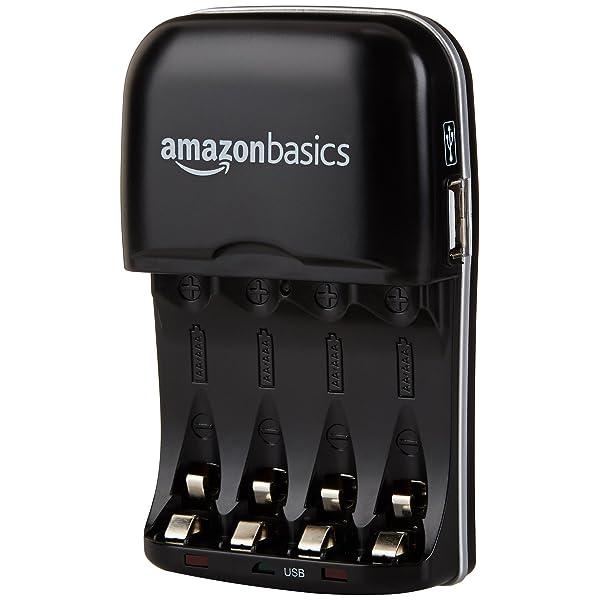 AMAZONBASICS CARGADOR DE BATERÍA AA-AAA NI-MH CON PUERTO USB