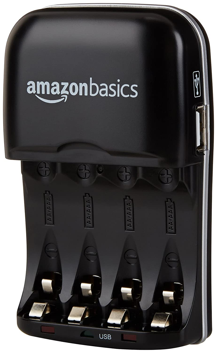 AmazonBasics Ni-MH AA & AAA Battery Charger With USB Port for Rechargeable Batteries