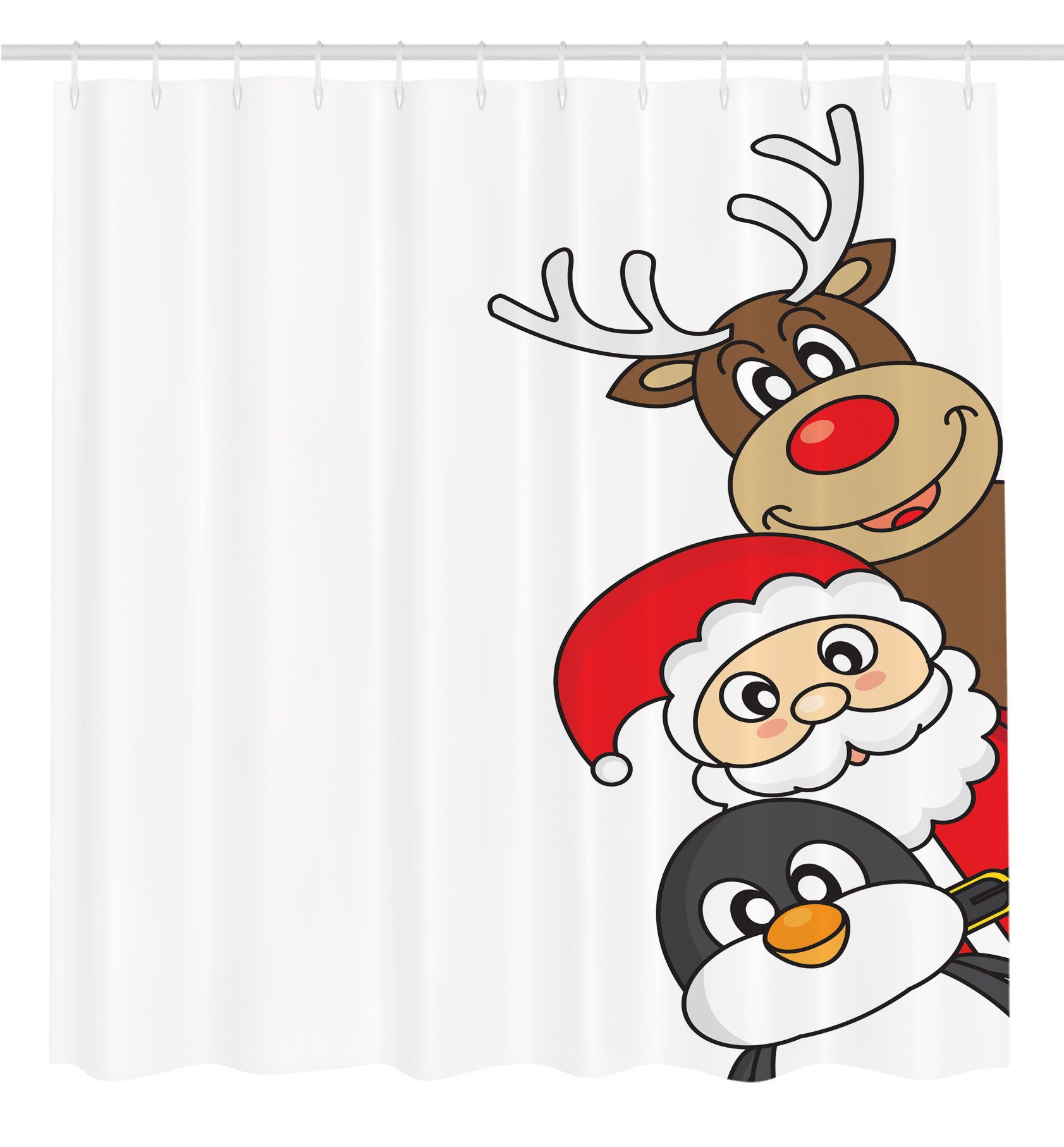 Ambesonne Christmas Decorations Collection, Santa Claus Reindeer and Penguin Cartoon Characters Cheerful Christmas Celebration Image, Polyester Fabric Bathroom Shower Curtain Set with Hooks, Red
