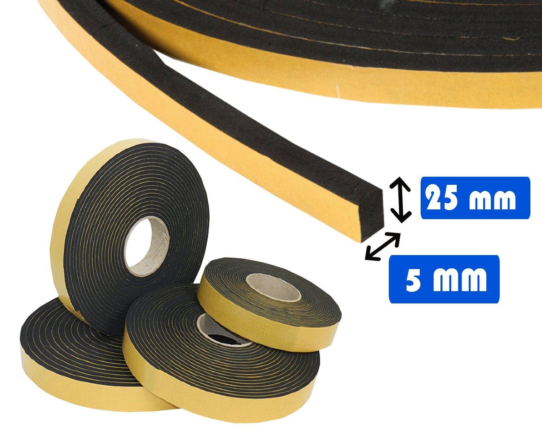 Guidetti Service - Junta adhesiva negra de 5 mm, rollo de 10 metros, de neopreno rollo de 10metros