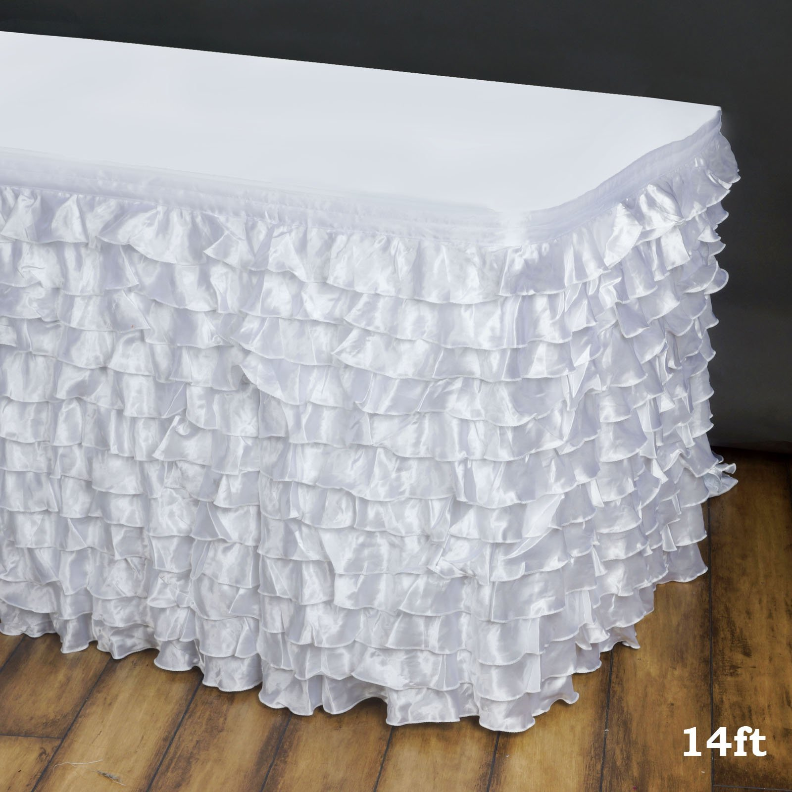 Efavormart 14ft Flamenca Satin Ruffle Table Skirt for Kitchen Dining Catering Wedding Birthday Party Decorations Events - White