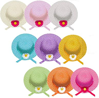 Assorted Colors Girls Sunflower Straw Tea Party Hat Set 9 Pcs
