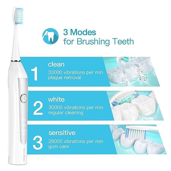 BESTOPE Cepillo de dientes con 2 de min Intelligent temporizador y Pulsonic Cepillo eléctrico, lavable 3 cabezales de repuesto, IPX7 resistente al agua y 3 ...