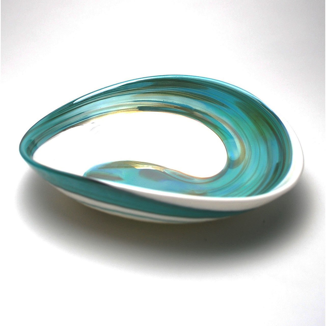 HOME DECOR - ''AEGEAN SEA'' MURANO GLASS TRAY - IVORY / TEAL GREEN - 7'' X 5''