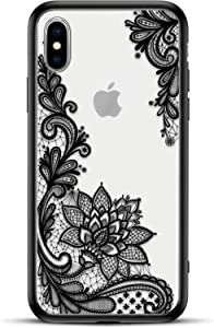 Apple (iPhone Xs/X) Slim Fit Phone Case for Girls Women with Cute Black Flowers Design - Ultra Thin Matte Hard Plastic Case Cover and Protective Hybrid Rubber Bumper - Cool Floral Pattern