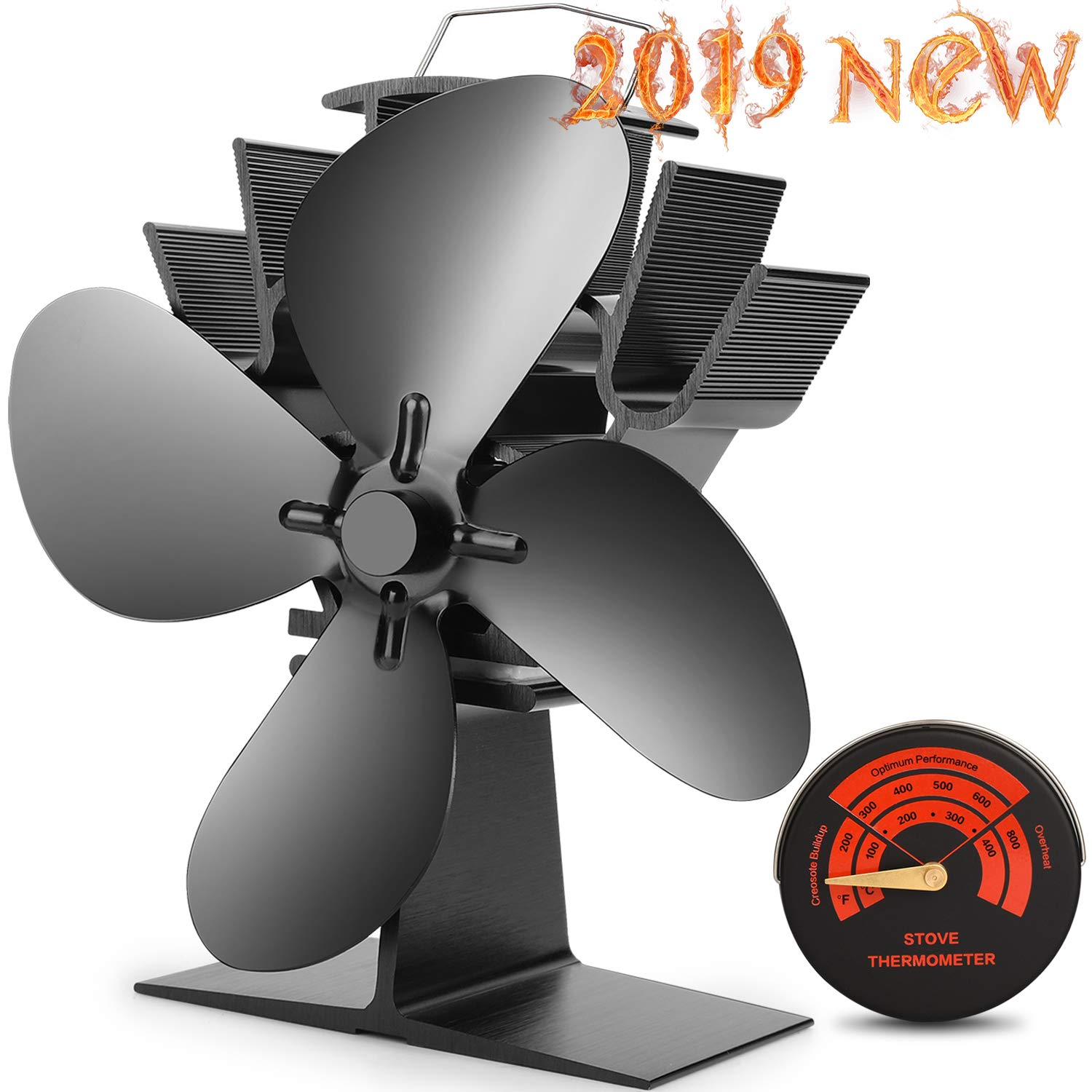CWLAKON Heat Powered Stove Fan-2019 Upgrade Designed Silent Operation 4 Blades with Stove Thermometer for Wood/Log Burner/Fireplace-Eco Friendly and Efficient Heat Distribution(Black) by CWLAKON