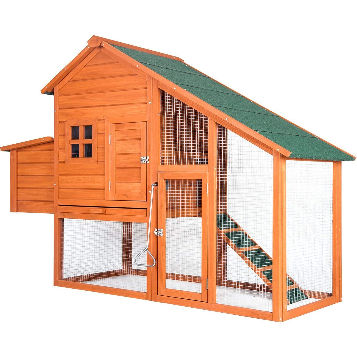 Purlove Chicken Coop Small Animal Cage Pet Rabbit Bunny Wood House Hutch with Tray, Natural Color(Chicken Coop #1)