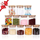 Tzerotone Glass Jars Set,Upgrade Spice Jars with Wood Airtight Lids and Labels, 6oz 12 Piece Small Food Storage Containers fo