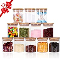 Tzerotone Glass Jars Set,Upgrade Spice Jars with Wood Airtight Lids and Labels, 6oz 12 Piece Small Food Storage…