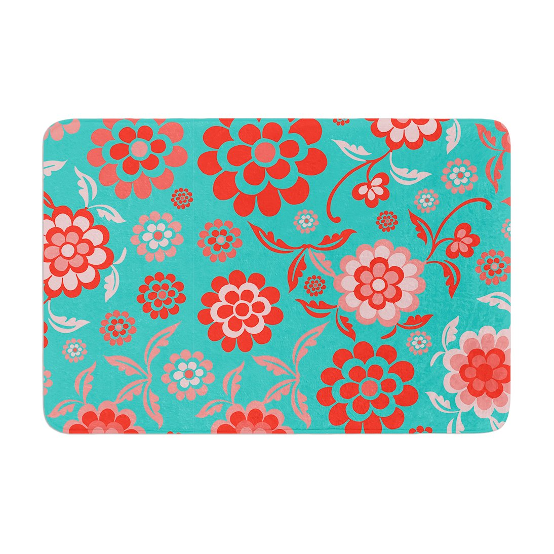 Kess InHouse Nicole Ketchum Cherry Floral Sea Memory Foam Bath Mat 17 by 24