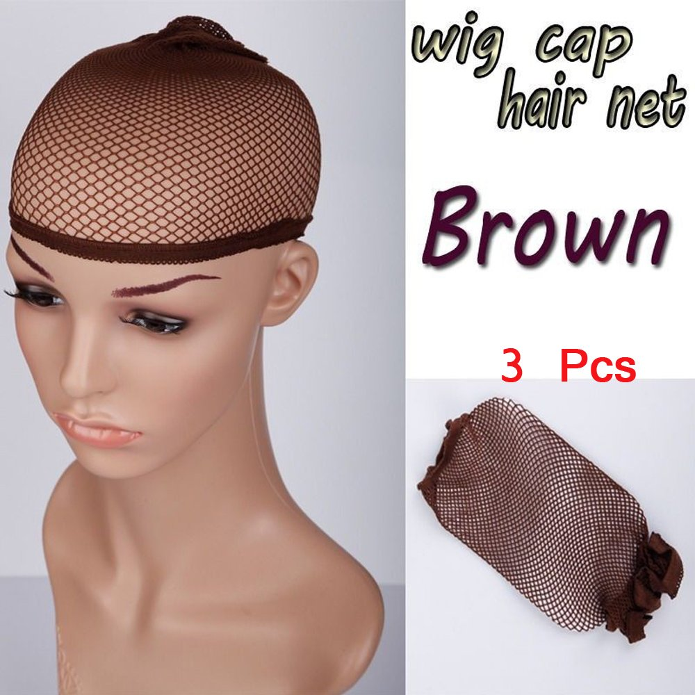 S-noilite Wig Cap Women Men Full Head Hair Wigs Cap Stretchable Net Mesh Fishnet Elastic Snood Breathable Unisex Hairnet Fit All Heads (3Pcs, Brown)