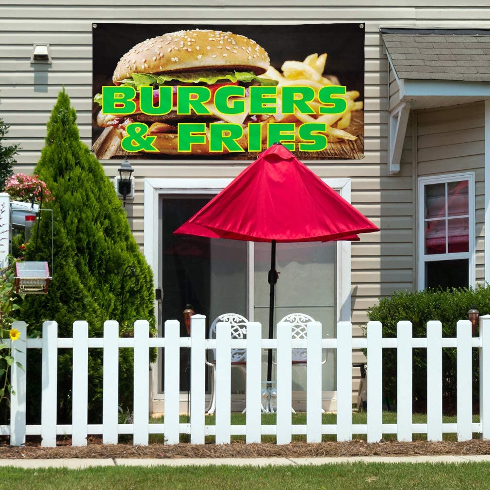 24inx60in Vinyl Banner Sign Burgers /& Fries #1 Style B Burgers Fries Marketing Advertising Black 4 Grommets Set of 3 Multiple Sizes Available