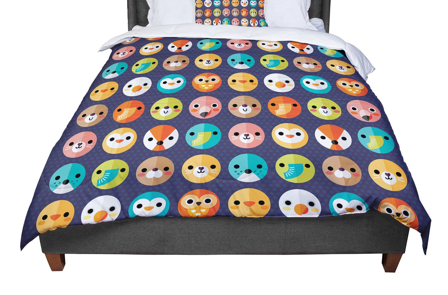 Cal King Comforter 104 X 88 KESS InHouse Daisy Beatrice Smiley Faces Repeat Animal Pattern King