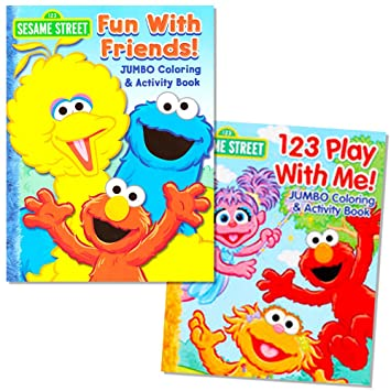 sesame street coloring book set 2 books elmo and cookie monster - Cookie Monster Coloring Book
