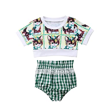 71eff37371525 Amazon.com: 2Pcs Cute Kids Baby Girl Summer Outfits Cat Print Short T-Shirt  Short Sleeve Tops Plaid Short Pants Clothes Set: Clothing