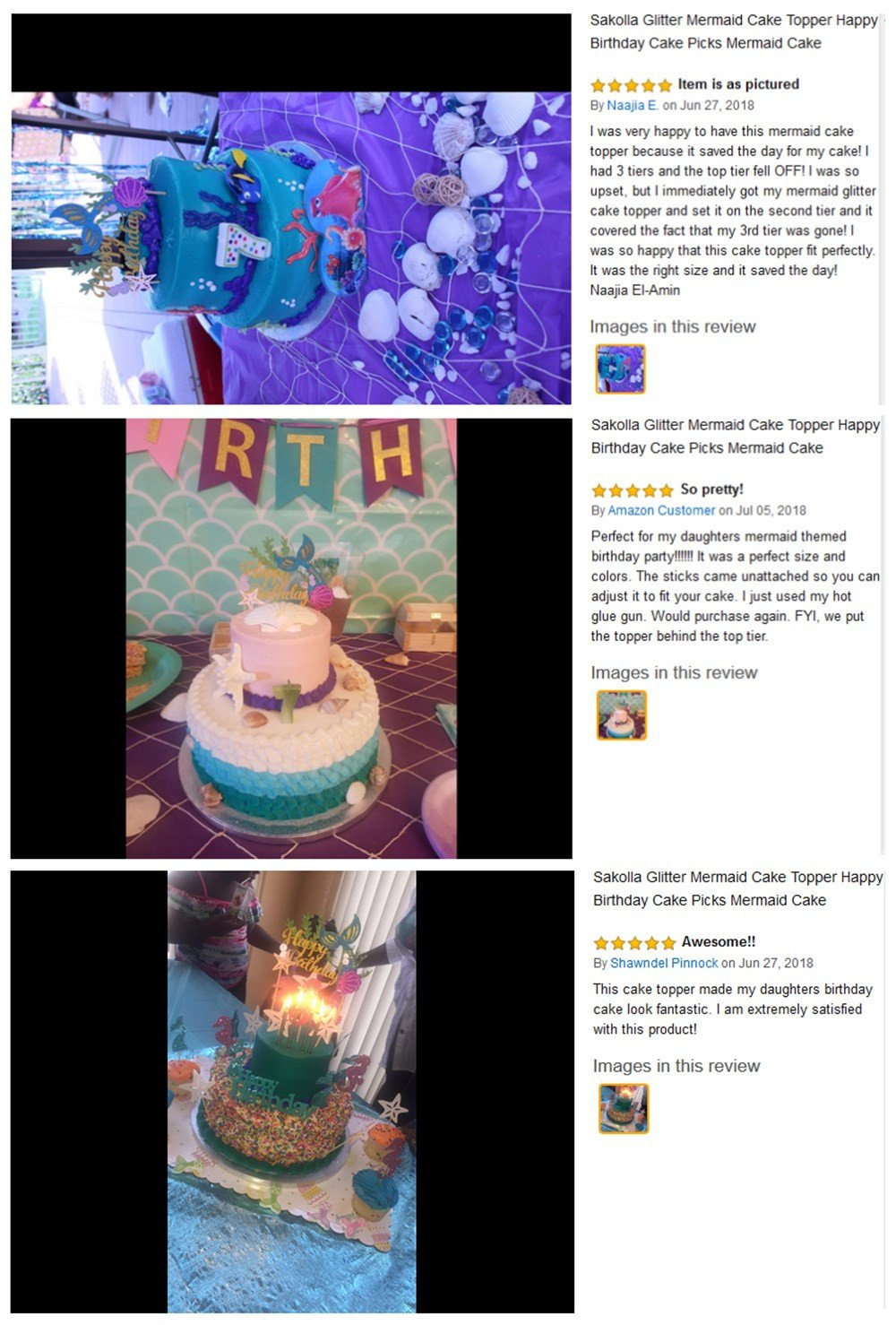 Sakolla Glitter Mermaid Cake Topper Happy Birthday Cake Picks