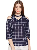 Acanthus White and Navy Windowpane Asymmetric Neck Cold Shoulder Top for Womens