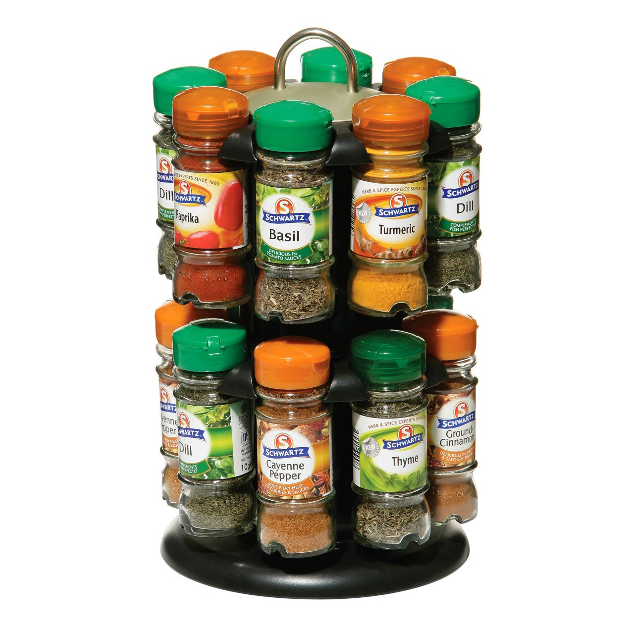 Premier Housewares Revolving Spice Rack with Schwartz Spices (Spice Rack 16) PRIME FURNISHING