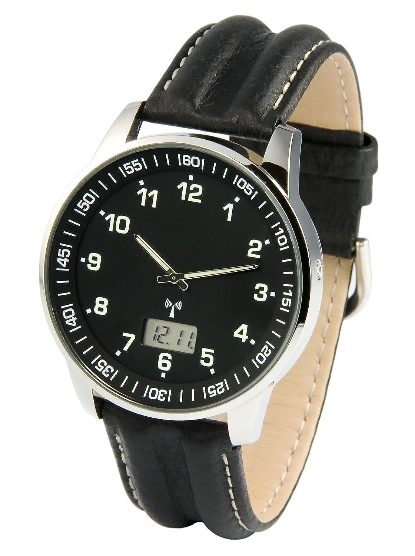 Elegante MARQUIS Herren Funkuhr (Junghans-Uhrwerk) Schwarzes Lederarmband - EdelstahlgehÄuse 964.6907