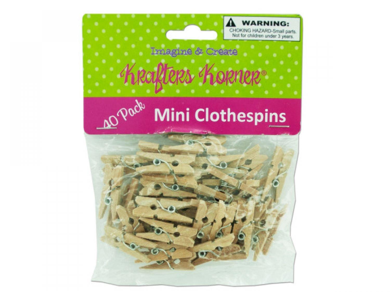 krafters korner Miniature Natural Wood Craft Clothespins - Set of 96, [Crafts, Craft Clothespins] by krafters korner (Image #1)