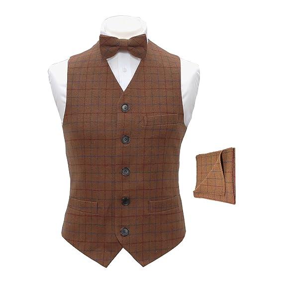 f82e72a7fc06 Heritage Check Rustic Brown Men's Waistcoat, Bow Tie & Pocket Square - M