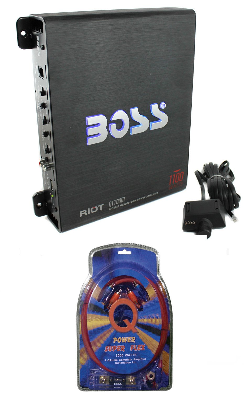 BOSS Audio Riot R1100M Mono Car Amplifier Amp + Sub Bass Remote + Wiring Kit