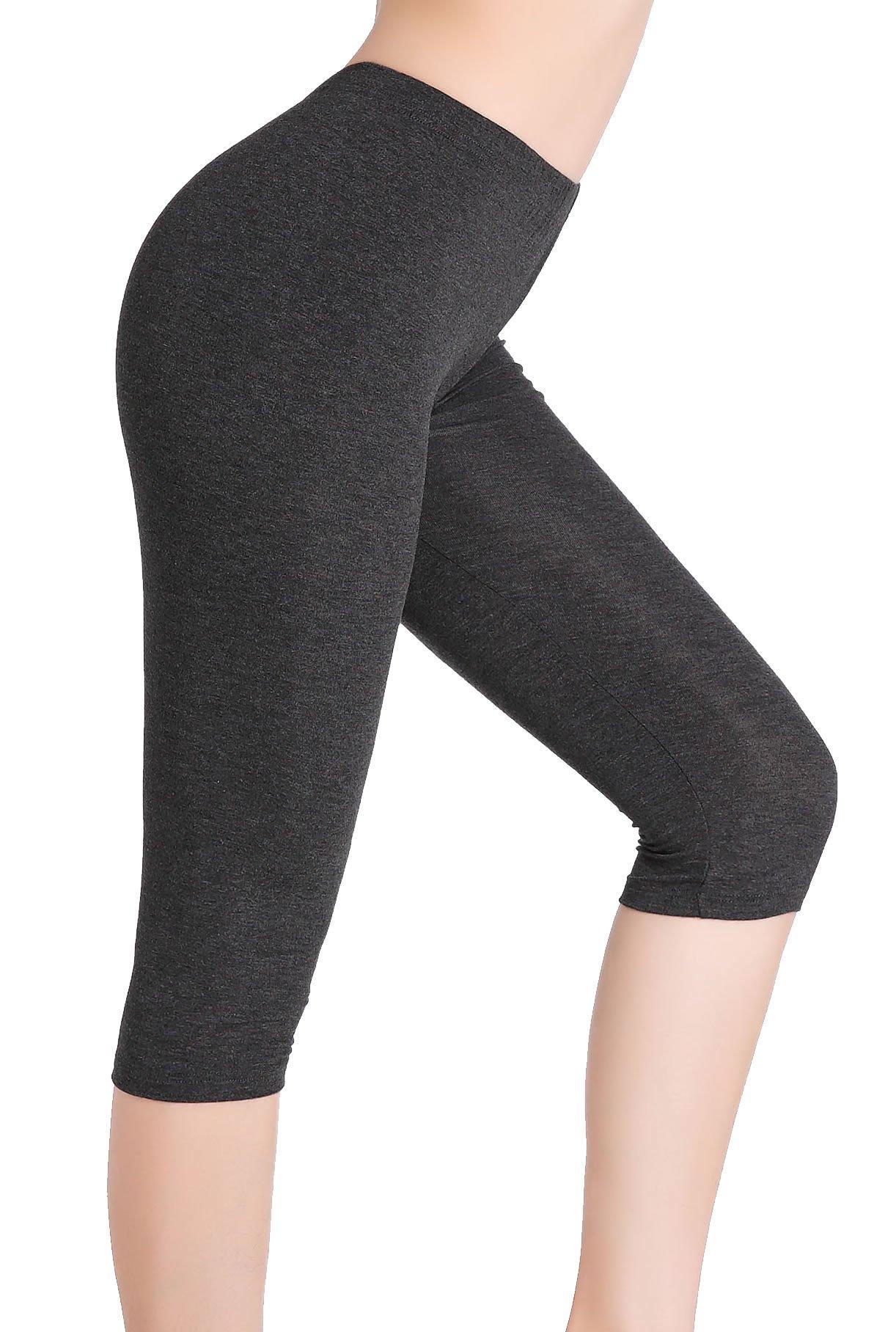 CnlanRow Women Under Skirt Stretch Capri Leggings - Ultra Soft Cropped Leggings for Women