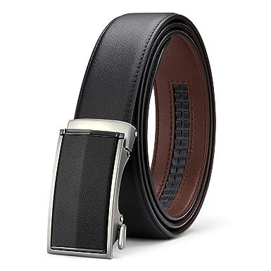 45e73e51d353f1 BESTKEE Herren Gürtel Schwarz - Ledergürtel für Männer mit Ratsche Automatik  Schnalle (Bundweite 85cm,