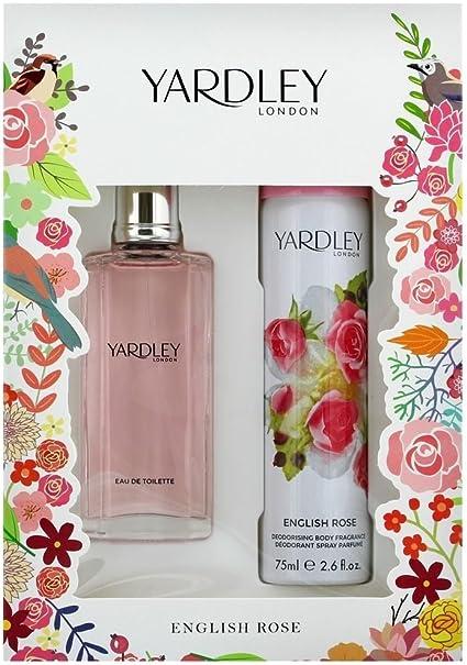 Set de regalo navideño, de la marca Yardley London, con la colonia English Rose, de 50 ml, y un espray corporal. Pack de 2: Amazon.es: Belleza