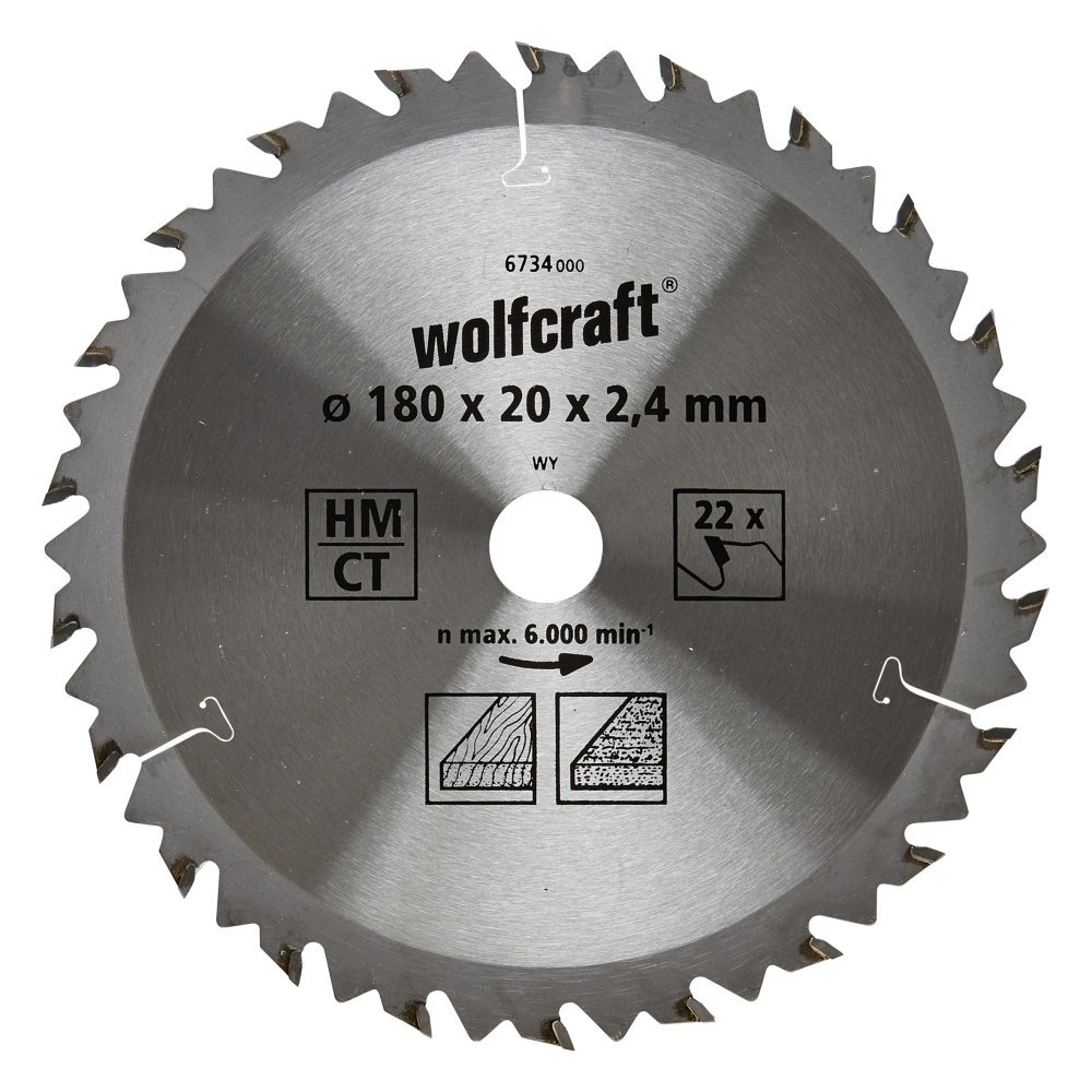 Serie marr/ón diam Wolfcraft 6734000 6734000-1 Hoja de Sierra Circular HM 180x20x2.4mm 180 x 20 x 2,4 mm 22 dient