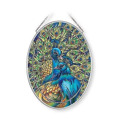 Amia Blue Rhapsody, Peacock Glass Suncatcher, Multicolored: Home & Kitchen