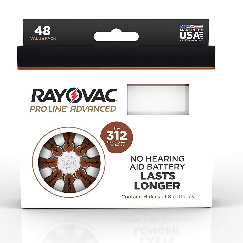 Rayovac Mercury Free Proline Advanced Size 312 Hearing Aid Batteries, Total of 96 Batteries