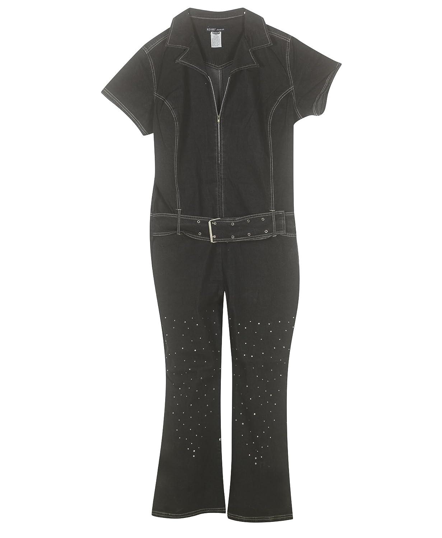 Plus Size Black Studded Denim Jumpsuit