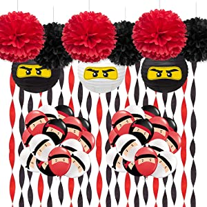 Kreatwow Warrior Party Supplies - Ninja Balloons Crepe Paper Stickers for Warrior Party Decorations